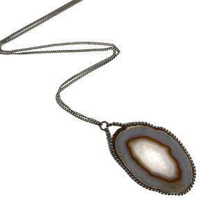 Agate Slice Pendant Silver Chain Necklace